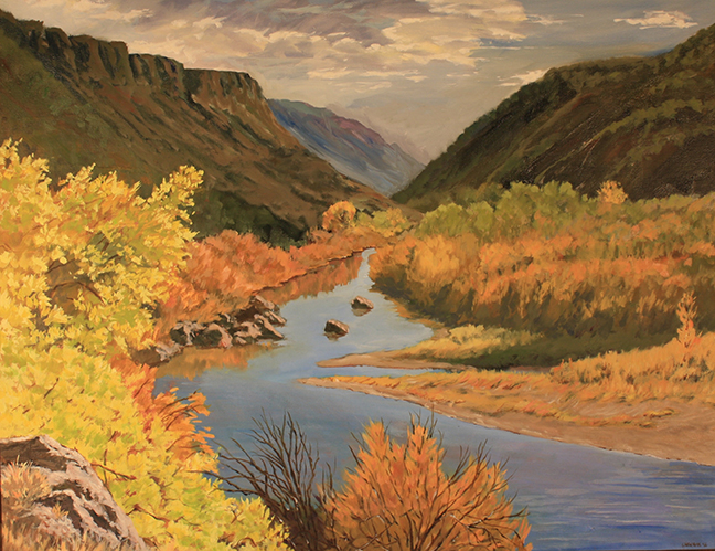 """Rio Grande Autumn"" by Charlee Newman. She paints landscapes of northern New Mexico in oil and pastels. She has been on the tour for 10 years and shows at her gallery at 2296 State Road 76 at Ojo Sarco. The work is all original and is framed by frames made by the artist. Her work can be previewed on her website www.charleenewman.com."