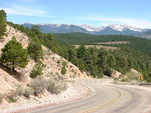 The High Road between Santa Fe and Taos in New Mexico. Photo courtesy of Kathy Riggs.