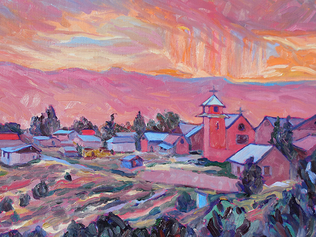 """Orange Rain Over Truchas"" by Sally Delap-John. ""Sally's work is done alla prima, en plein air. At the ready with a pre-mixed palette, she selects a scene that has drama and an appealing, if unusual composition."""