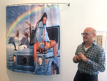 "Director of MCA Denver, Adam Lerner, discussing the ""Bodaciousss"" exhibition. Artist Something by Someone."