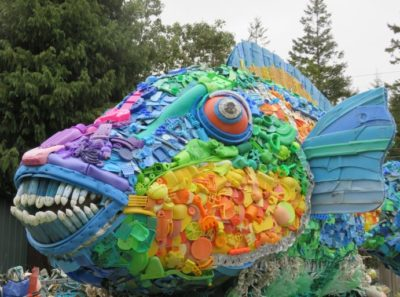 Priscilla Parrot Fish from Project Washed Ashore. Constructed of debris collected from the beach. Photo courtesy of the Smithsonian.