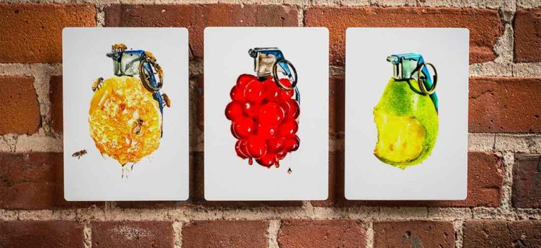 Sweet Blasts!, limited edition portfolio combining produce and products with high explosives, to explore the collision of humanity, culture and the greater world around it.