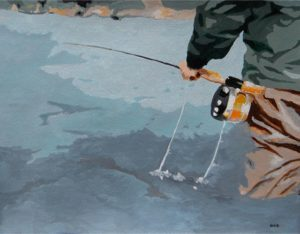 Fly Fishing - Watercolor/Gouache - Carrie Diaz