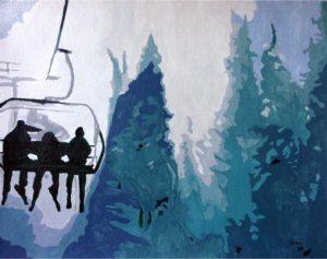 Skiers - Watercolor/Gouache - Carrie Diaz