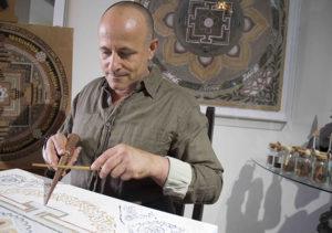 Artist Rafael Anteby working in his studio, Los Angeles.
